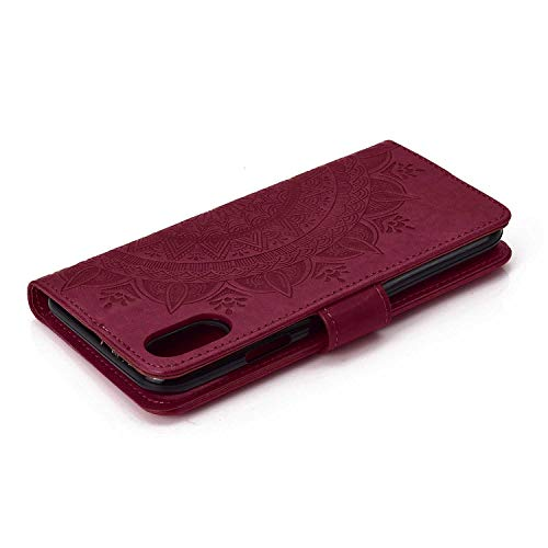 Case iPhone XR, Bear Village PU Leather Embossed Design Case with Card Holder and ID Slot, Wallet Flip Stand Cover for Apple iPhone XR (#7 Brown) by Bear Village (Image #5)