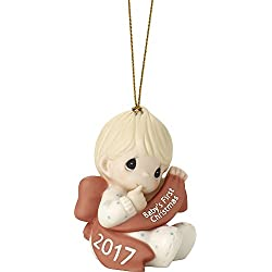 Precious Moments Baby's First Christmas Dated Boy Bisque Porcelain Ornament Boy 171006