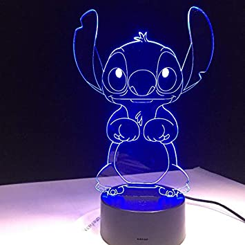 Stitch Cartoon 3D LED Lampe Schlafzimmer Tisch Nachtlicht Acryl Panel USB Kabel 7 Farben /ändern Touch Base Lampe Kinder Geschenk