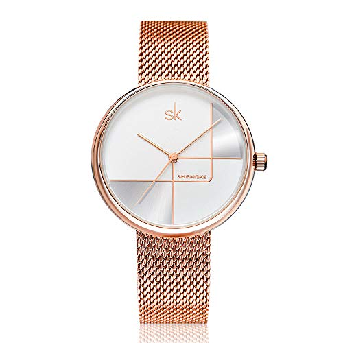 SK SHENGKE Female Mesh Watches Simple Face Stainless Steel Back Case Fashion Ladies Wristwatch on Sale (K0105-Rose Gold)