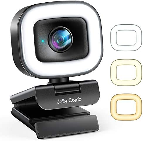 60FPS Streaming Webcam with Adjustable Ring Light, Jelly Comb Auto-Focus HD 60FPS, 1080P Web Camera with Privacy Cover and Dual Mic for YouTube, Skype, Zoom, Twitch, OBS, Xsplit and Video Calling, W15