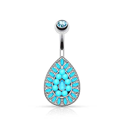 Pierced Owl Vintage Style Shield Gem Belly Button Ring 316L 14g Navel Ring - Choose Style (Turquoise Bead)