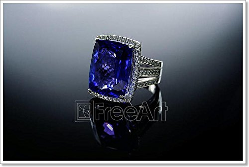 18k 18k Wg Ring - Barewalls 18 Ct Wg Tanzanite Diamond Ring Paper Print Wall Art (28in. x 42in.)