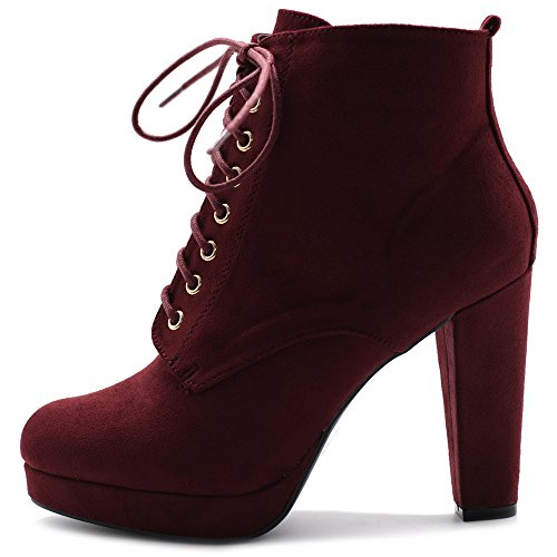 Ollio Women's Shoe Faux Suede Lace-up Platfrom Ankle Chunky Heel Booties SSB13(7.5 B(M) US, Wine)