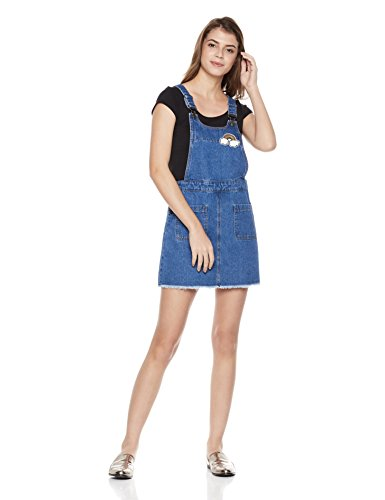 Lily Parker Women's Rainbow Patch Adjustable Strap Denim Overall Dress
