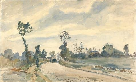 Oil Painting 'Road To Saint Germain, Louveciennes,1871 By Camille Pissarro' Printing On High Quality Polyster Canvas , 16x26 Inch / 41x67 Cm ,the Best Home Theater Gallery Art And Home Artwork And Gifts Is This High Definition Art Decorative Canvas Prints