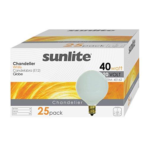 Sunlite 40G16.5/WH/25PK 40W Incandescent G16.5 Globe White Light Bulb with Candelabra E12 Base (25 ()