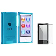 Everydaysource® Compatible with Apple® iPod® nano® 7th Generation Clear Blue Slim Snap-on Case + Colorful Diamond Screen Protector