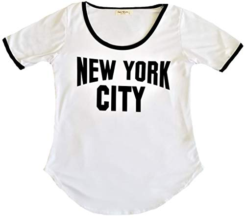Ladies New York City Lennon Tee Ringer Round Bottom Vintage NYC Tshirt for Women (Medium) White/Black ()
