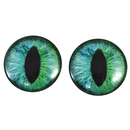 40mm Pair of Large Cheshire Cat Glass Eyes, for Jewelry making, Arts Dolls, Sculptures, and More (Art Doll Sculpture)