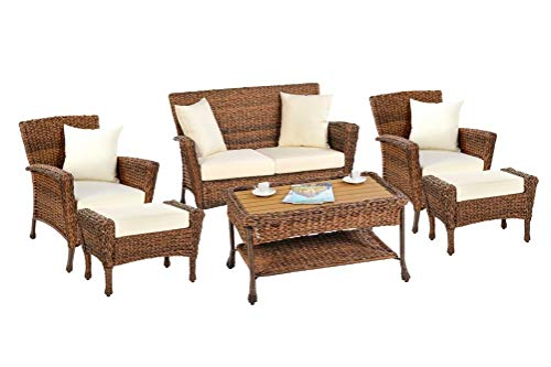 W Unlimited Rustic Collection Outdoor Garden Patio 6-PC Bistro Furniture Set, Brown