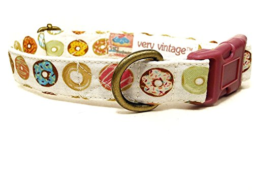 Very Vintage Designs Donut Run - Whimsical Donut Doughnuts Simpsons Food Summer Organic Cotton Pet Collar - Handmade in the USA by Very Vintage Designs