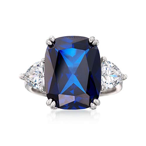 Ross-Simons Cushion-Cut Simulated Sapphire and 1.75 ct. t.w. CZ Ring in Sterling Silver