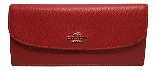 Coach Crossgrain Leather Soft Wallet True Red F54008