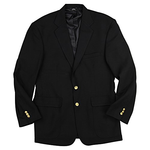 Edwards Men's Classic Two Button Single Breasted Black Blazer (Black, 38 Short)