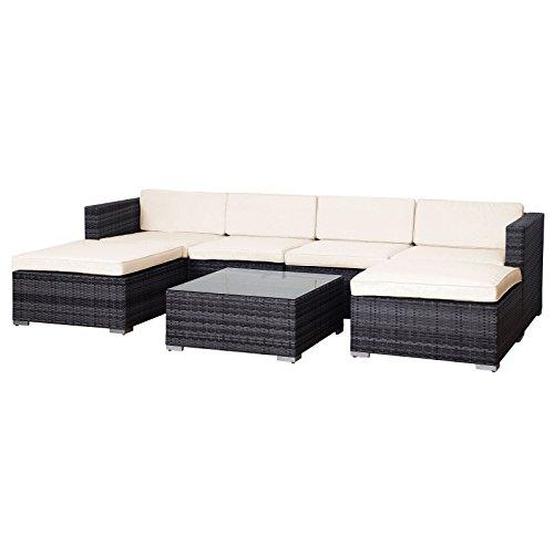 Amazon.de: Svita Lugano POLY RATTAN Lounge Garten-Set XXL Sofa-Set ...