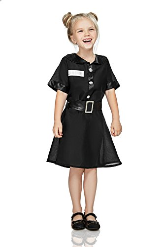 Kids Girls Police Jail Wardress Overseer Supervisor Cop Uniform Dress Up Party (8-11 years, (Black Notched Leather Buckle Belt)
