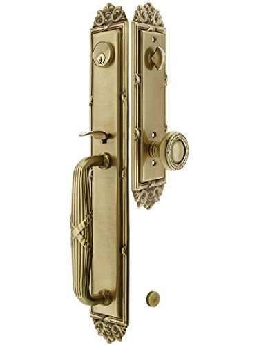 Imperial Style Tubular Handleset in Antique Brass with Ribbon & Reed Knobs and 2 3/8