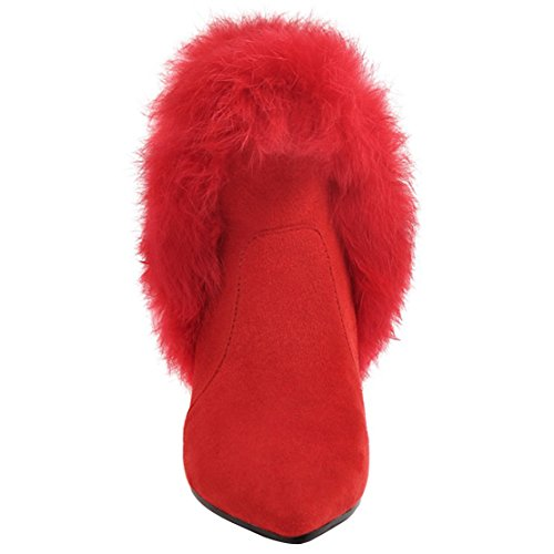 Ankle With Winter AIYOUMEI Sexy Wedding Boots Womens Red Heel Zip Party Shoes Boots Toe Fur Pointed Kitten q8YwUHq