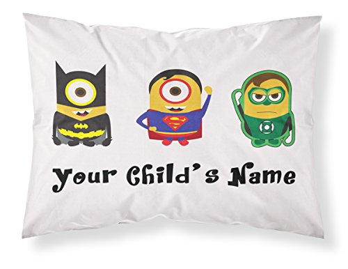 Customizable, Minions Themed Pillowcase, Featuring Batman, Superman and The Green Lantern. Personalized With Your Child's Name - Perfect Gift For Boys Of All Ages! (Minions Name)