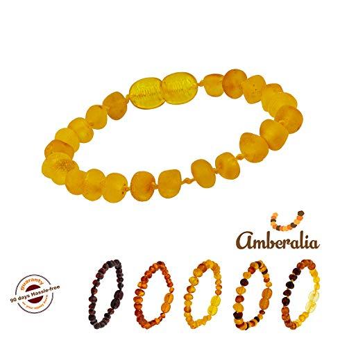(Connene Baltic Amber Baby Teething Bracelet/Anklet Kids or Adult, Unisex. (Raw Lemon, 5.5))