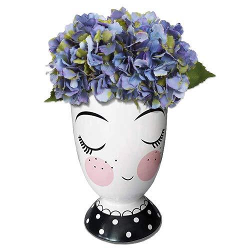 Forward White Flower Pot, Face Vase Head Planter for Succulent Plant 3.7 Inch Ceramic Small Plant Pot, Indoor Orchid Pot, Adorable Planter for Home Office Decor