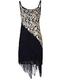 Women's 1920S Paisley Art Deco Sequin Tassel Glam Party Gatsby Dress