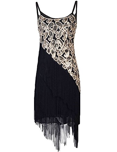 Prettyguide Women's 1920s Paisley Art Deco Sequin Tassel Glam Party Gatsby Dress Black 6/8 (Twenties Dress)