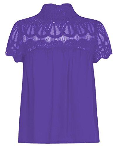 Camiseta de manga corta de encaje con diseño de flores, para mujer, tallas grandes morado