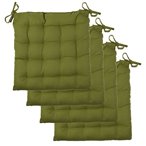 4 Pack Chair Pads Set Soft Tufted Cotton Canvas Padded Seat Cushions With Ties Kitchen Dining (Green Seat Cushions compare prices)