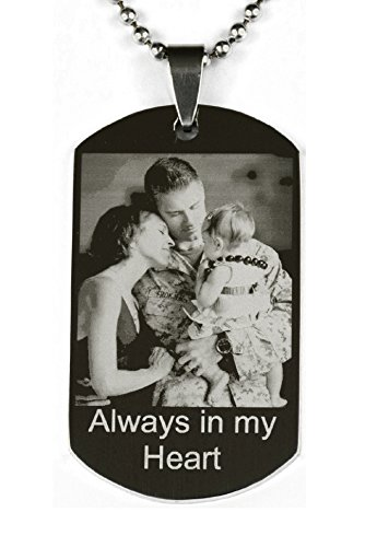 Personalized Photo Engraved Stainless Steel Custom Dog Tag Necklace High Polished Silver Tone Etching Picture