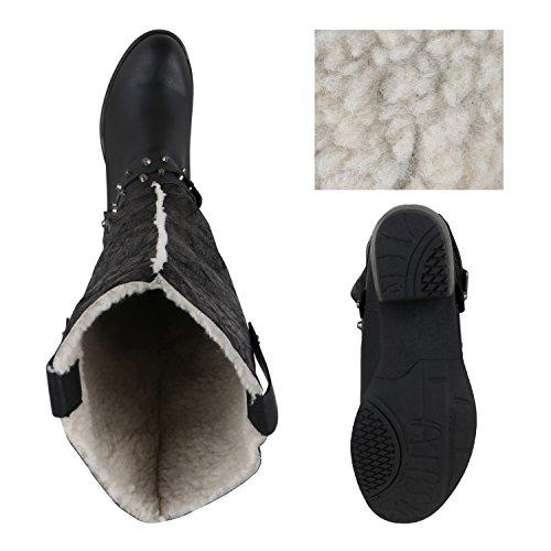 Stiefelparadies Stylische Damen Schuhe Reiterstiefel Schnallen Stiefel Blockabsatz Flandell Schwarz Nieten