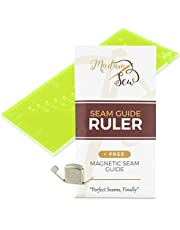"""Madam Sew Seam Allowance Ruler and Magnetic Seam Guide for Sewing Machine – Perforated Seam Gauge for Perfect 1/8"""" to 2"""" Straight Line Hems – Includes 1/4"""" Pivot Point and 45 Degree Trim Line"""