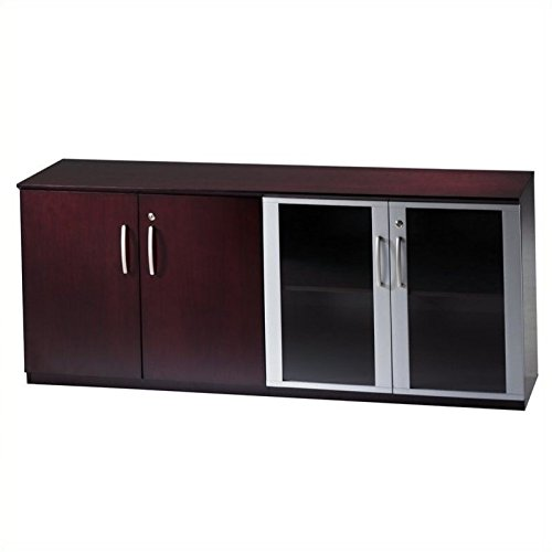 - Mayline Napoli Low Wall Cabinet with Doors in Mahogany-Wood and Glass - Wood and Glass