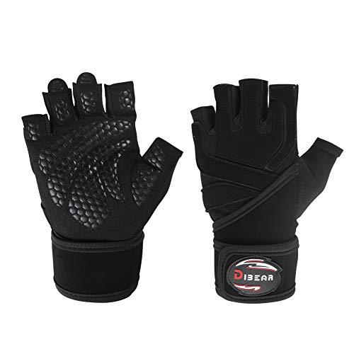 (DIBEAR Fitness Gloves Men and Women Half Finger Dumbbell Single Pole Strength Equipment Training Non-Slip Wristband Sports Equipment (Black, S))