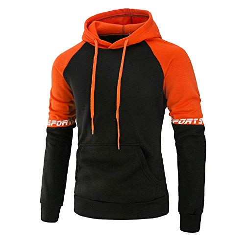 Pull Longues Coton Hommes À Mieuid Sweat Hoodies Capuche Chic Naranja Patchwork Hauts IUawfIEq