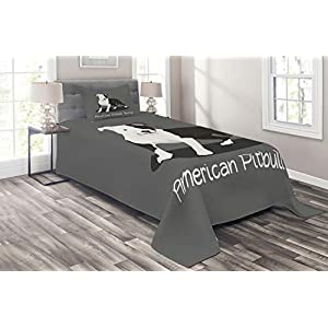 Ambesonne Pitbull Coverlet, American Pitbull Terrier Pet Cartoon Illustration Graphic Design on Grey Background, 2 Piece Decorative Quilted Bedspread Set with 1 Pillow Sham, Twin Size, Dark Grey 4