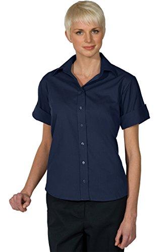 Ed Garments 5245 Women's Open Neck Poplin Short Sleeve Blouse - Navy - (Poplin Short Sleeve Blouse)