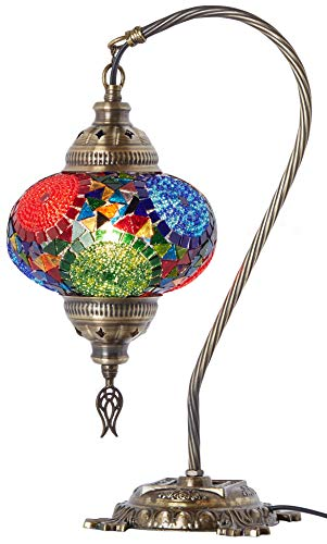 (33 Colors) DEMMEX 2019 Turkish Moroccan Mosaic Table Lamp with US Plug & Socket, Swan Neck Handmade Desk Bedside Table Night Lamp Decorative Tiffany Lamp Light, Antique Color Body (4)
