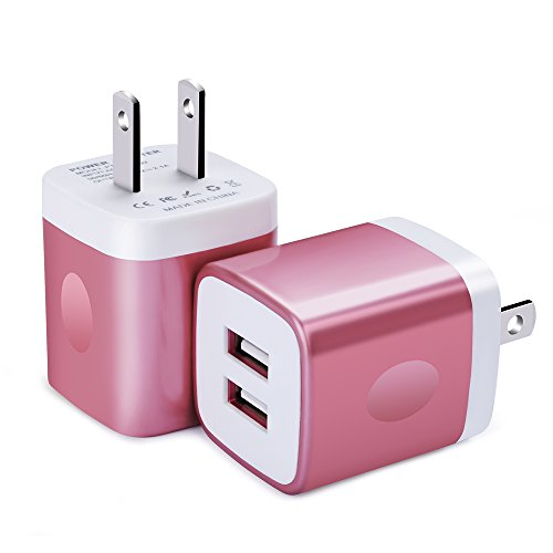 (Wall Charger, FiveBox 2Pack Dual Port USB Wall Charger Brick 2.1A Phone Charger Cube Charging Block Plug Charger Box Charging Base for iPhone X/8/6/6s/7 Plus, iPad, Samsung S9 S8 S7 S6, Android, LG)