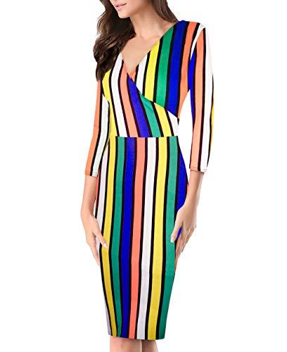 (Women's Plum Cross V Neck MIDI Dress KDR44322 11092 YEKENO L)