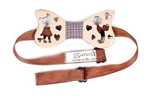 Wooden Bow Tie Alder Wood for a Boy or a Girl Necktie with Adjustable Strap