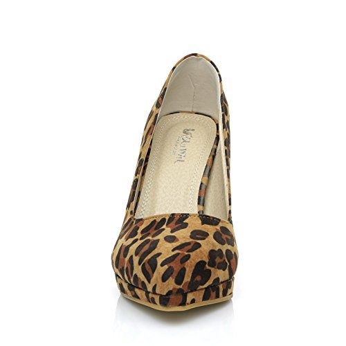 ShuWish UK Emma Leopard Print Stiletto High Heel Platform Pointed Shoes kvpGXw