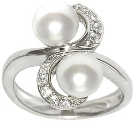 Sterling Silver White Freshwater Cultured Pearl and Cubic Zirconia Ring