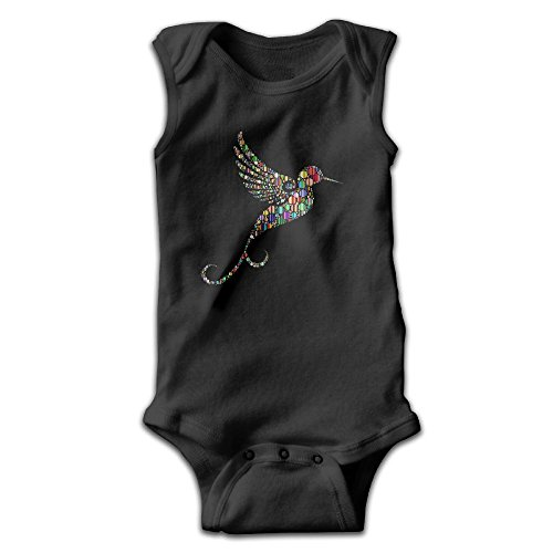 Honeykid Baby Girl Boy Color Wave Point Hummingbird Sleeveless Onesies Jumpsuit (Scuba Diver Waves)