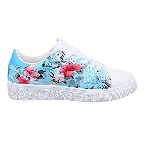 Ital-Design - zapatos de tiempo libre Mujer Azul - azul y blanco