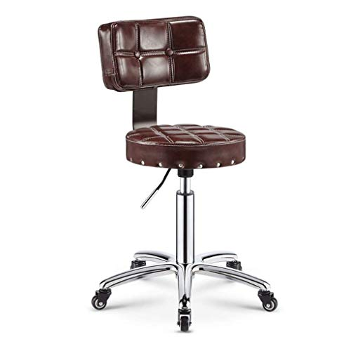 (KSDGQ Stool Footstool Lifting Stool Round Salon Massage Chair with Backrest Adjustable Swivel Hydraulic Gas Lift Stool for Hairdressing Manicure (Color : Oil Palm Brown backrest))