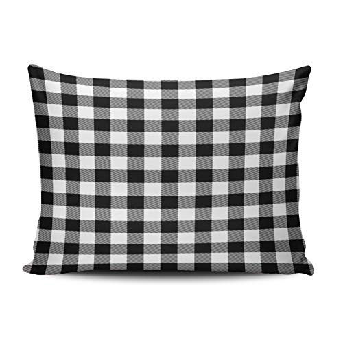 WULIHUA Decorative Throw Pillow Covers Black and White Gingham Checkered Fine Zipper Pillowcases Throw Pillow Cushion Covers for Sofa One Side Printed Lumbar 12x20 Inches