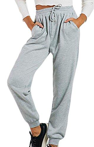 YYear Womens High Waisted Drawstring Pockets Sweatpants Jogger Pants Gray S