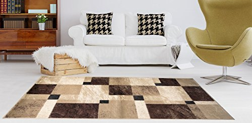 Soft Pile (Adgo Atlantic Collection Modern Abstract Geometric Rectangular Soft Pile Contemporary Carpet Thick Plush Stain Fade Resistant Easy Clean Bedroom Living Room Floor Rug, Tan Brown, 5' x 7')